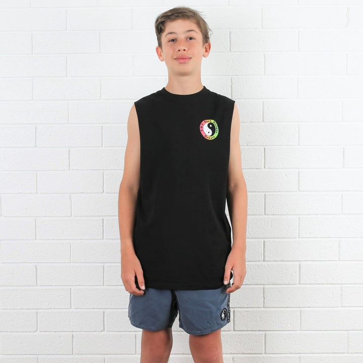 Kids OG Logo Muscle Tee - Black Fade