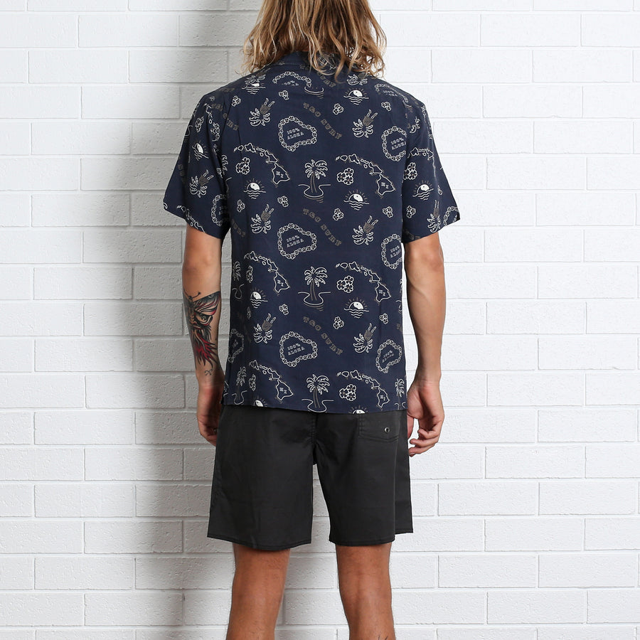 Island Time Hawaiian Shirt - Navy
