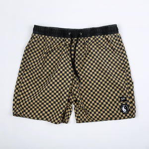 Checkers Elastic Waist Beach Short - Sand