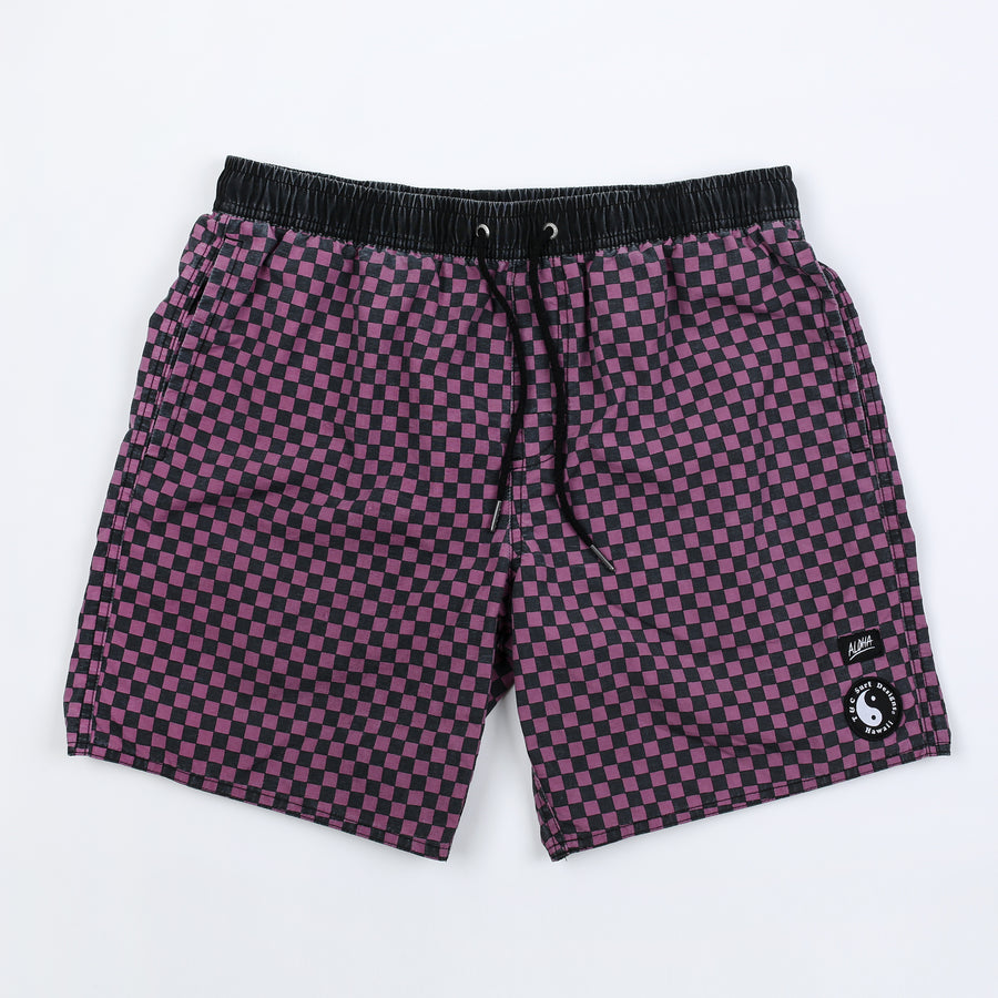 Checkers Elastic Waist Beach Short - Plum