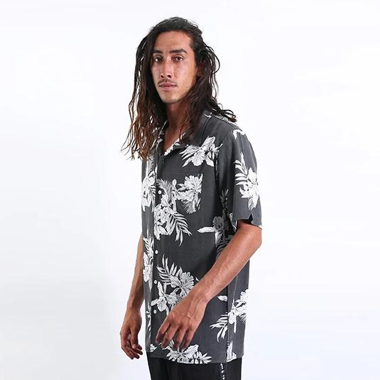 Mahalo Hawaiian Shirt - Black Fade