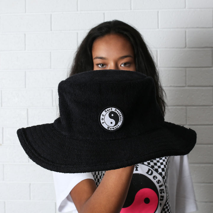 Terry Beach Hat - Black (S/M)