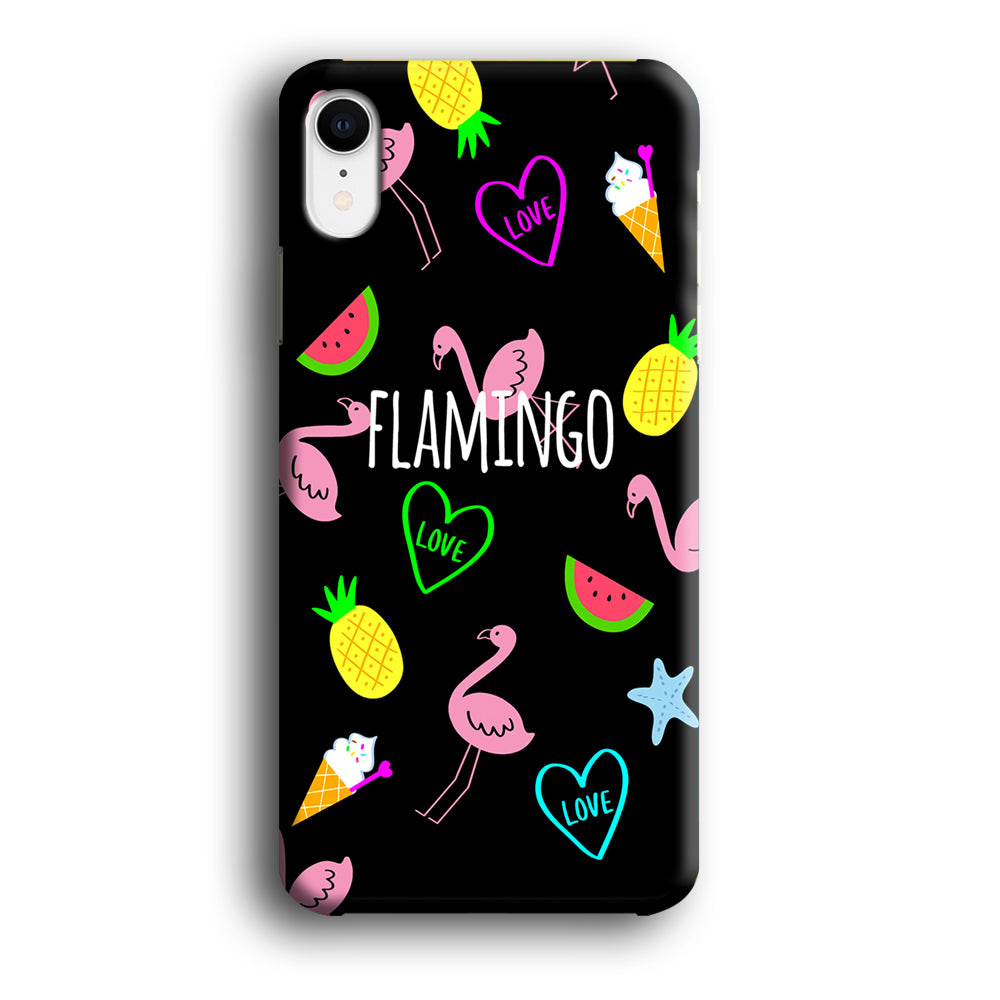 Flamingo Black Fruit iPhone XR 3D Case