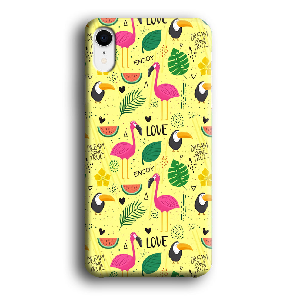 Flamingo Yellow Quote iPhone XR 3D Case
