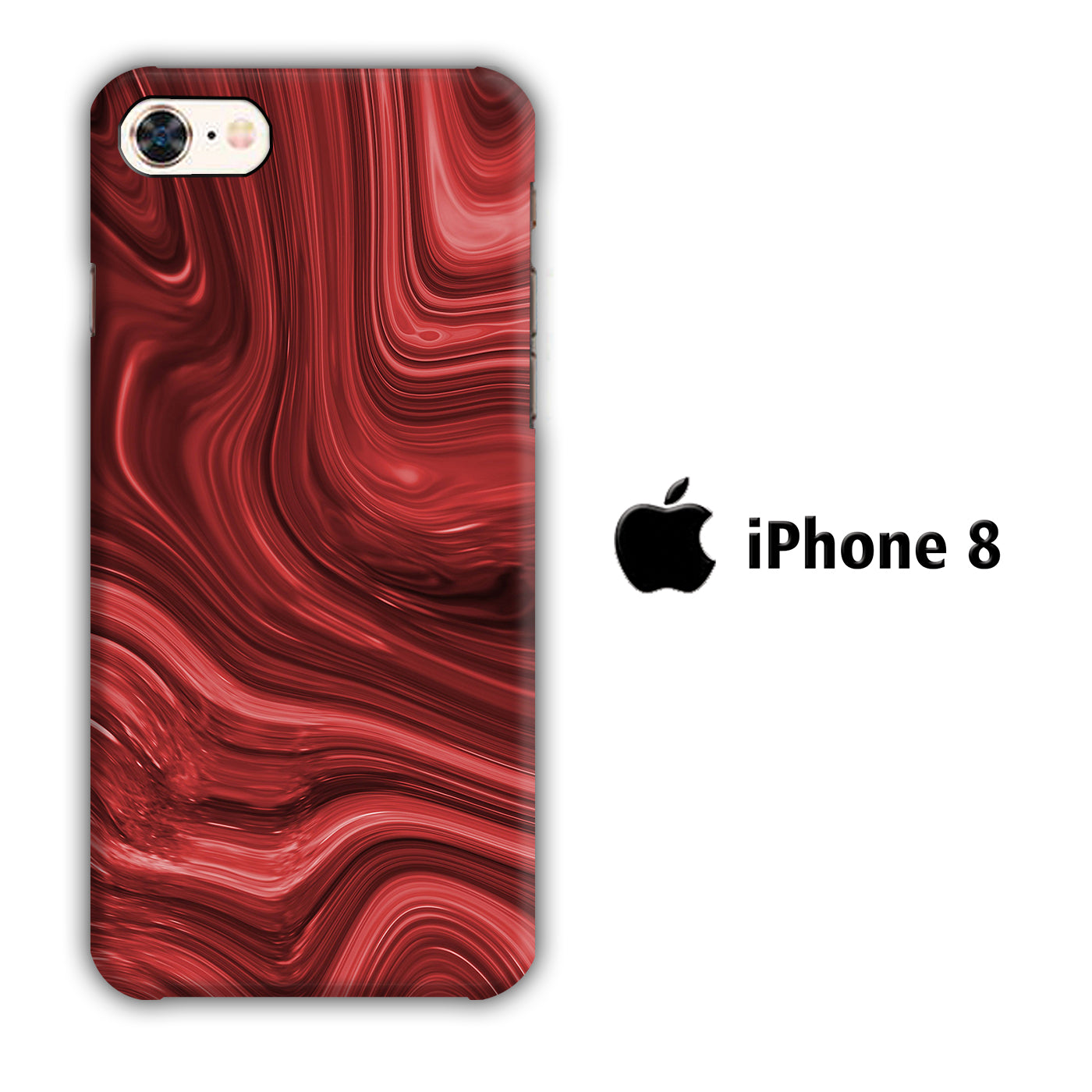 Marble Red Maroon 004 iPhone 8 3D Case