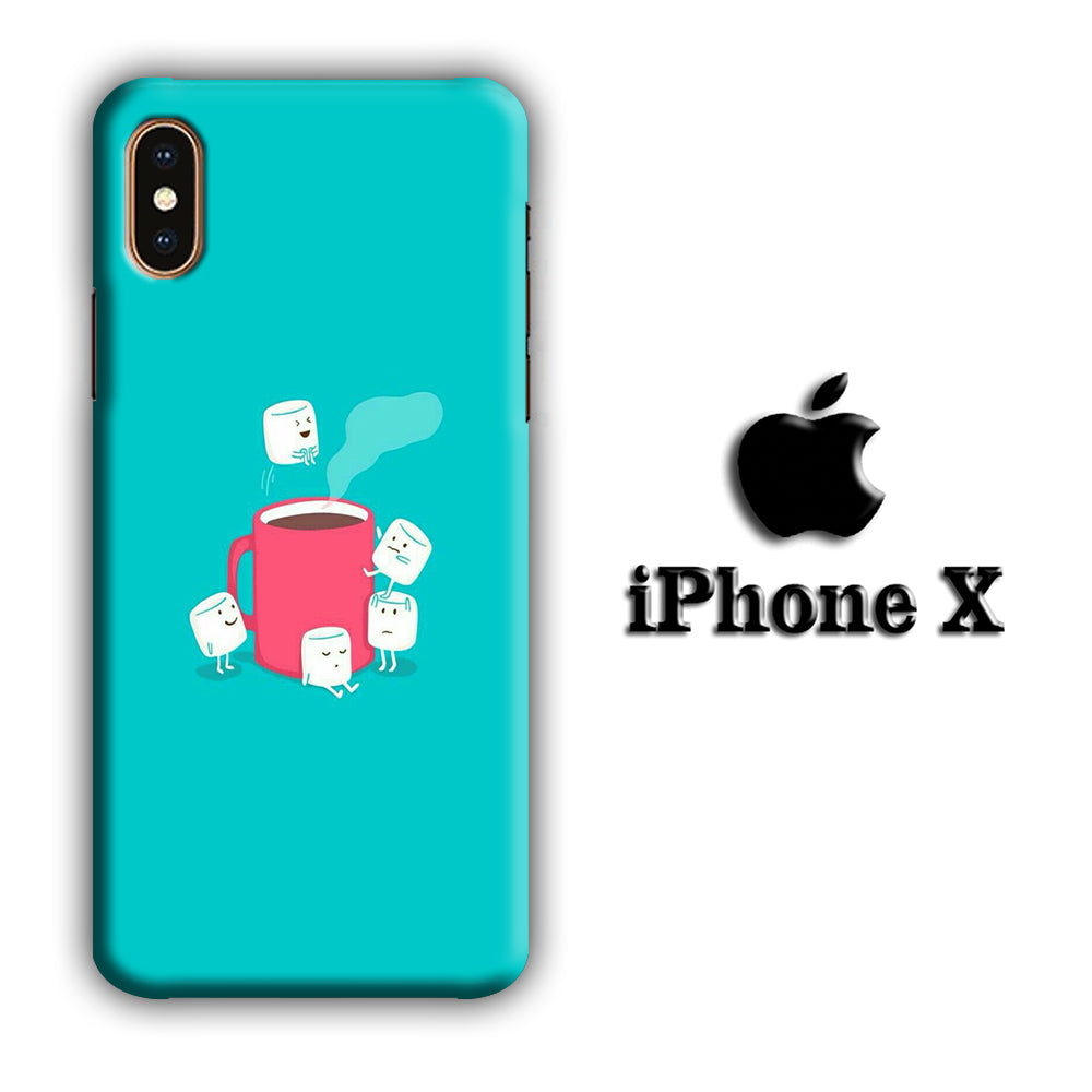 Marshmellow Swim In The Coffee iPhone X 3D Case