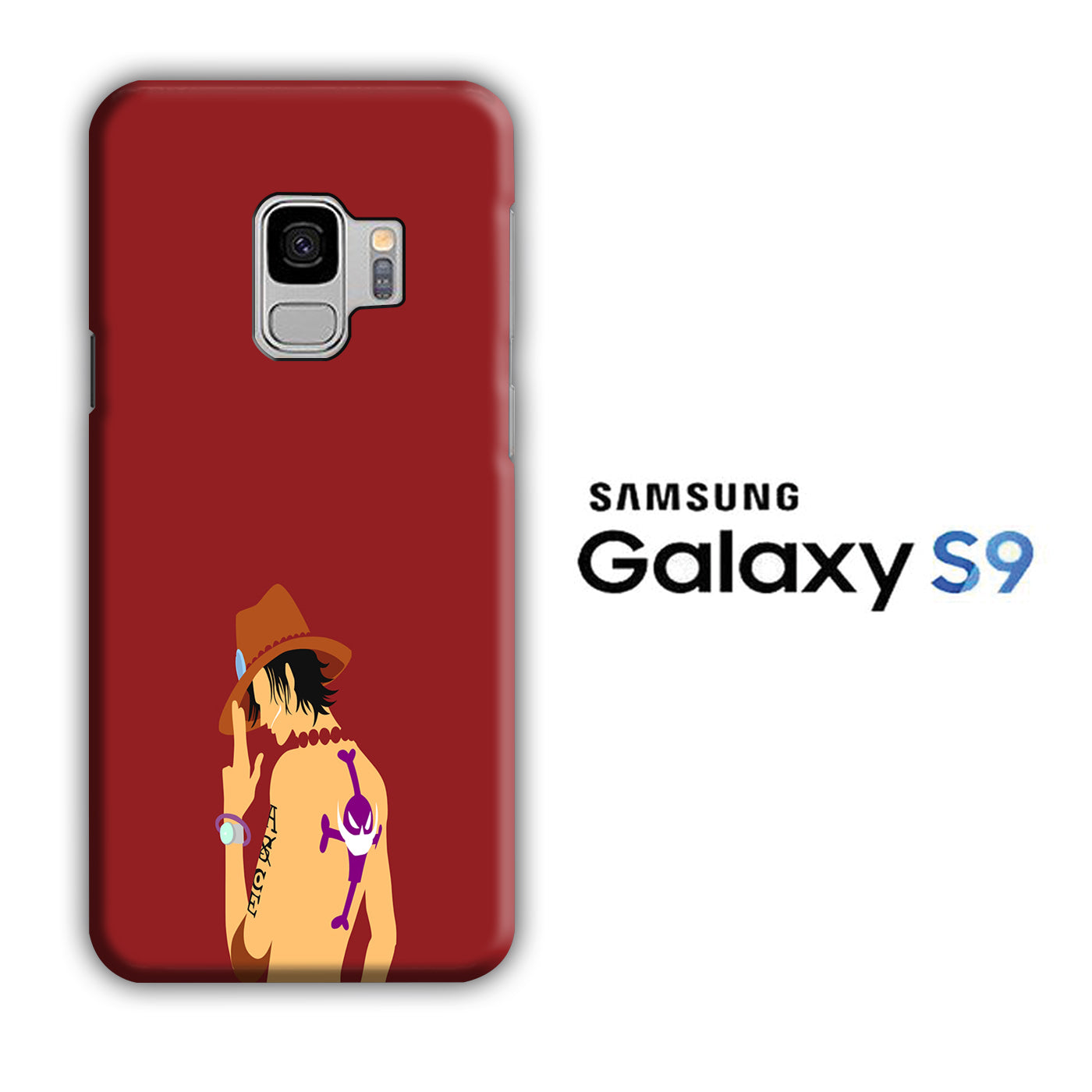 One Piece Ace Maroon Samsung Galaxy S9 3D Case