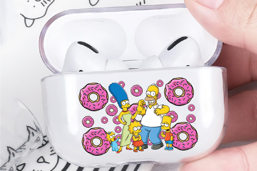 Simpsons Donut Family Protective Clear Case Cover For Apple Airpod Pro