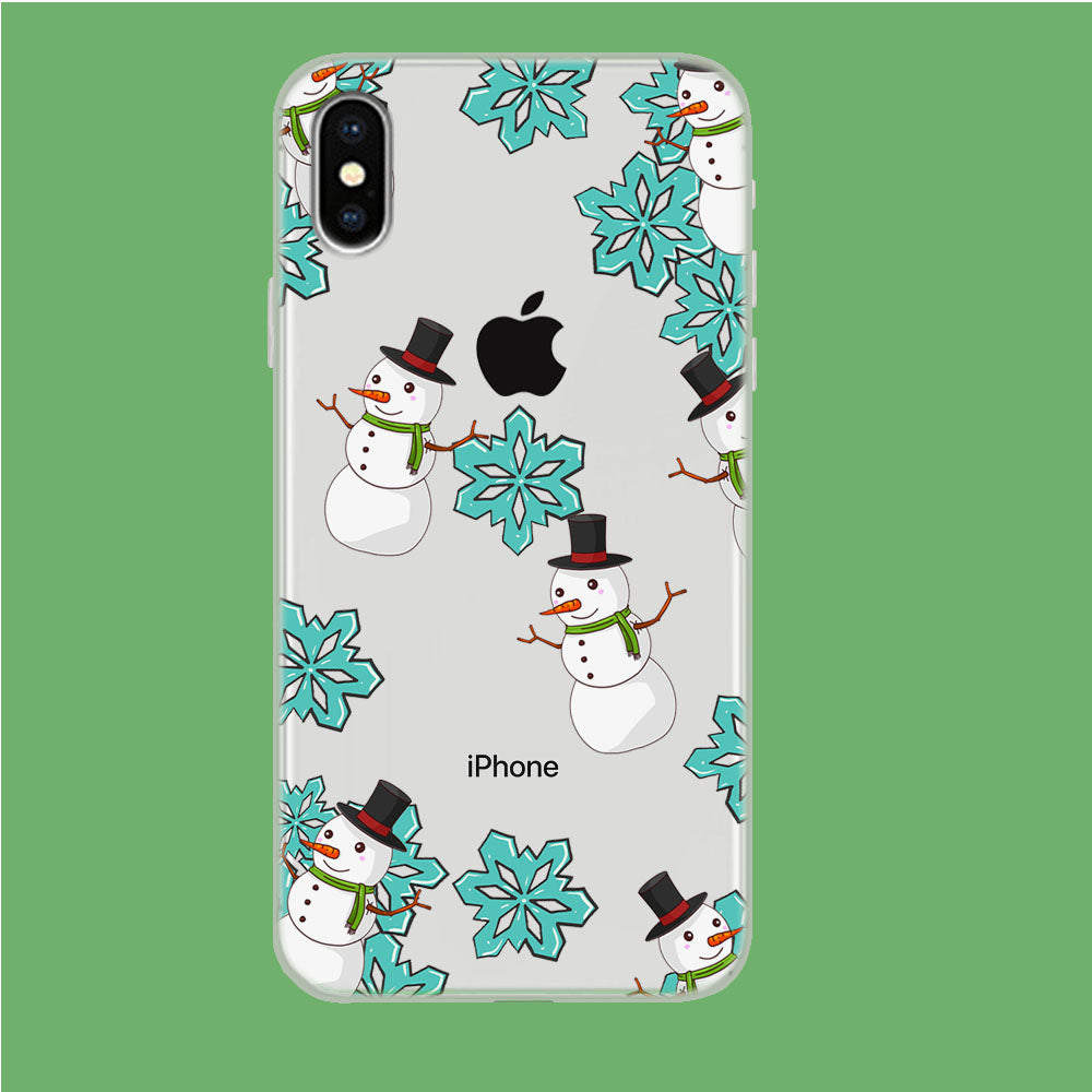 Snowflake x Snowman iPhone Xs Clear Case
