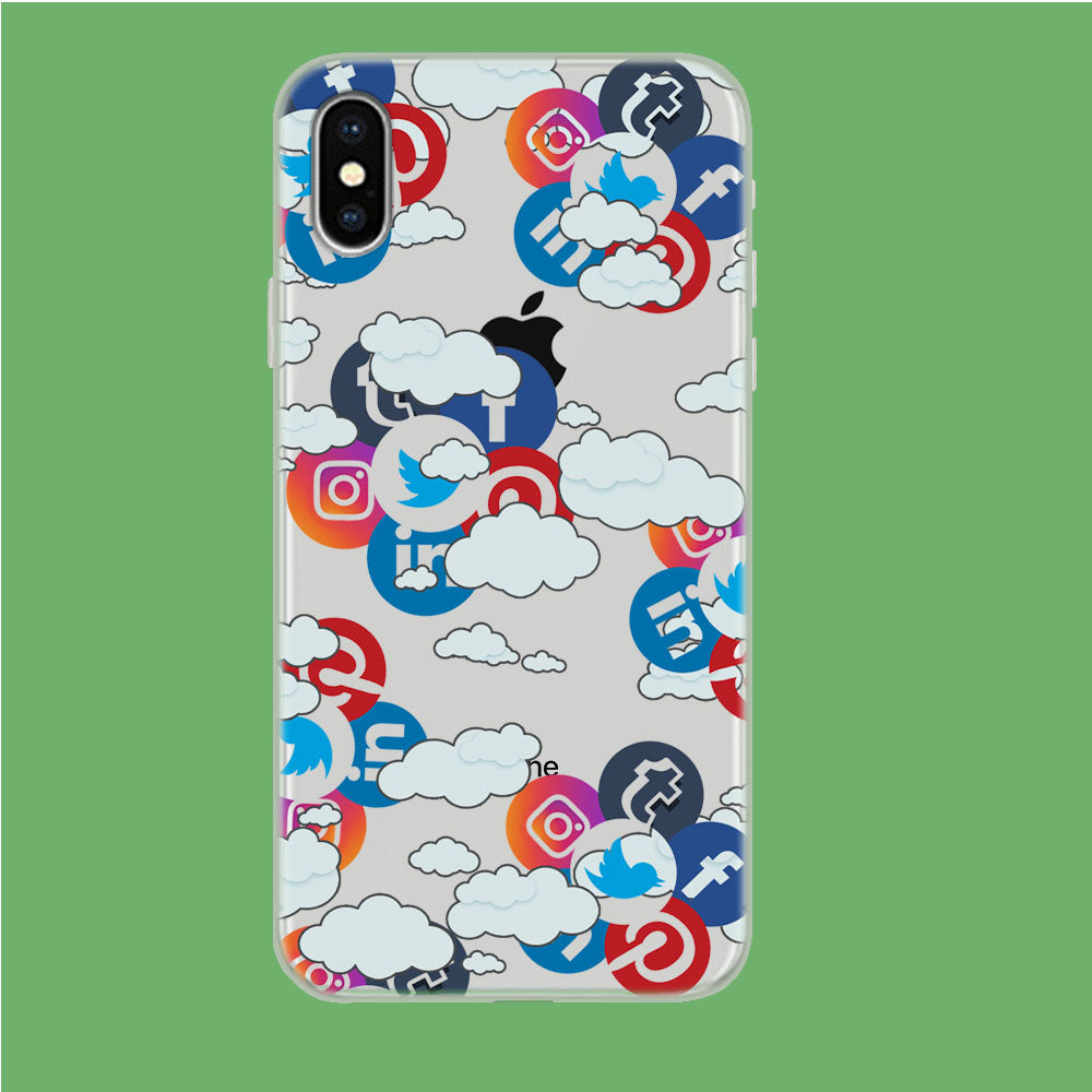 Social Media Cloud iPhone X Clear Case