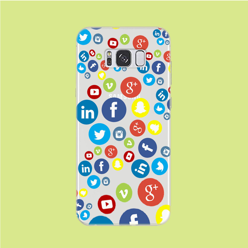 Social Media Doodle Samsung Galaxy S8 Clear Case