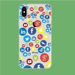 Social Media Doodle iPhone Xs Clear Case