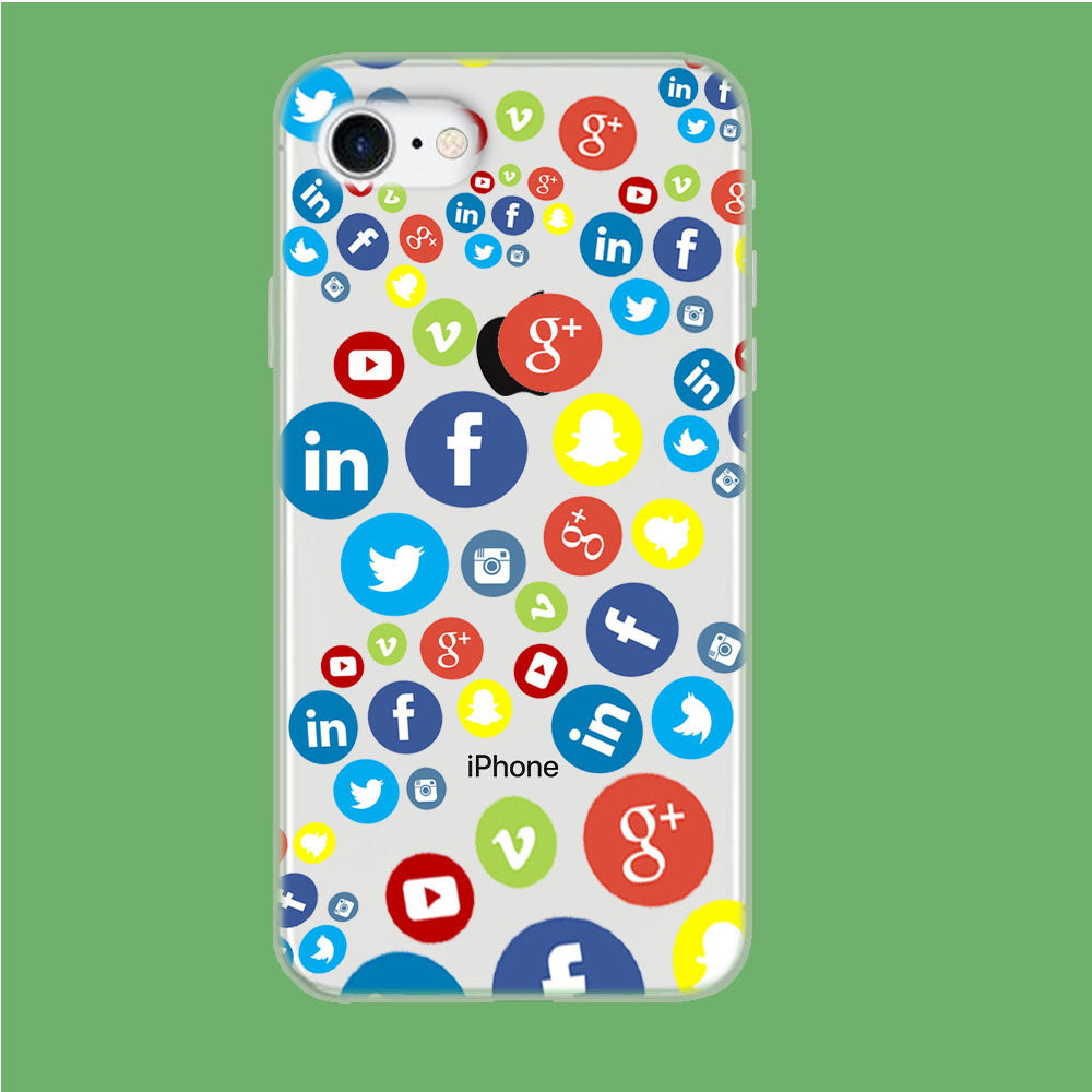 Social Media Doodle iPhone 8 Clear Case