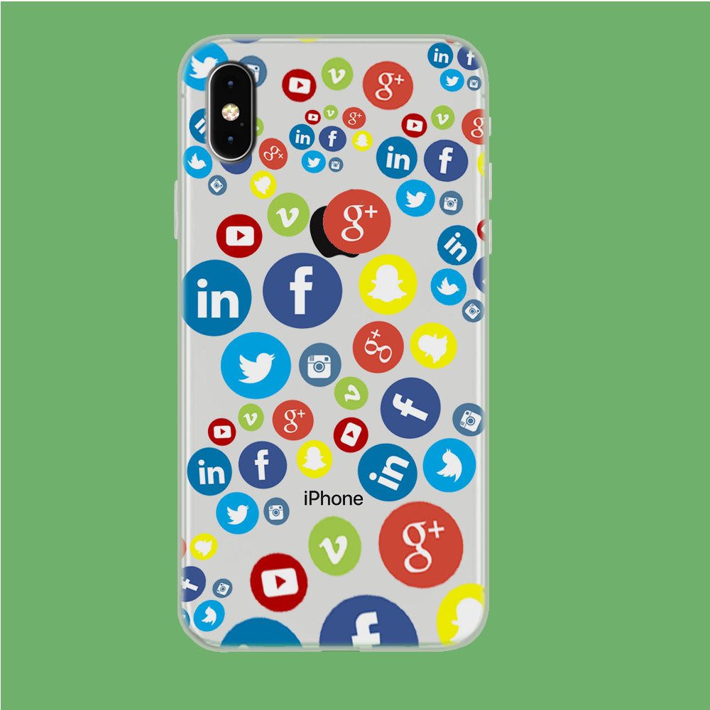 Social Media Doodle iPhone Xs Max Clear Case