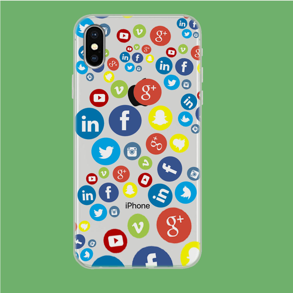 Social Media Doodle iPhone X Clear Case