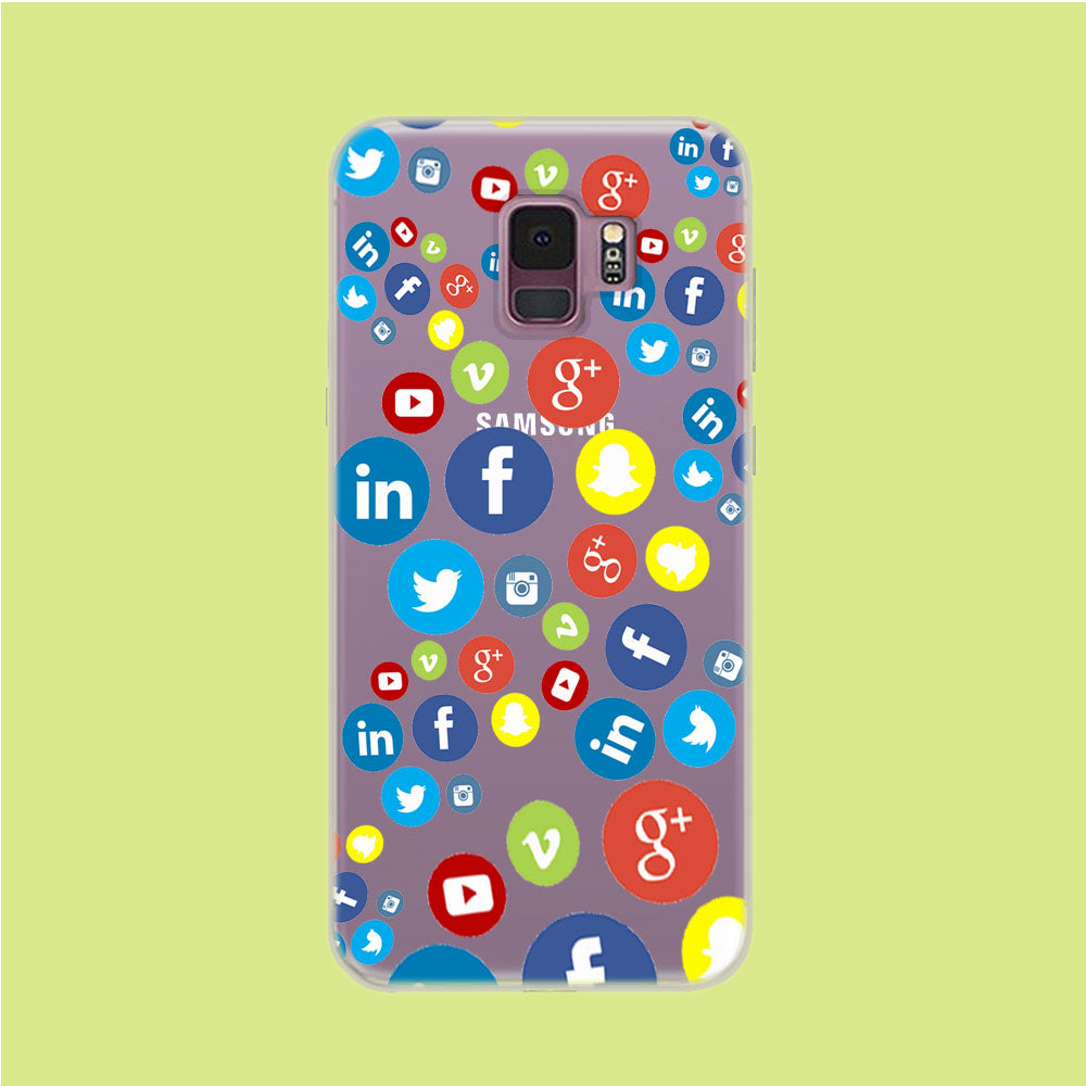 Social Media Doodle Samsung Galaxy S9 Clear Case