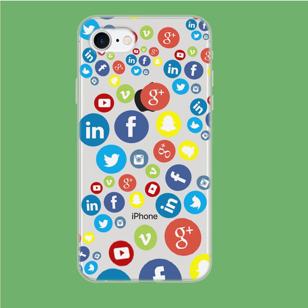 Social Media Doodle iPhone 7 Clear Case