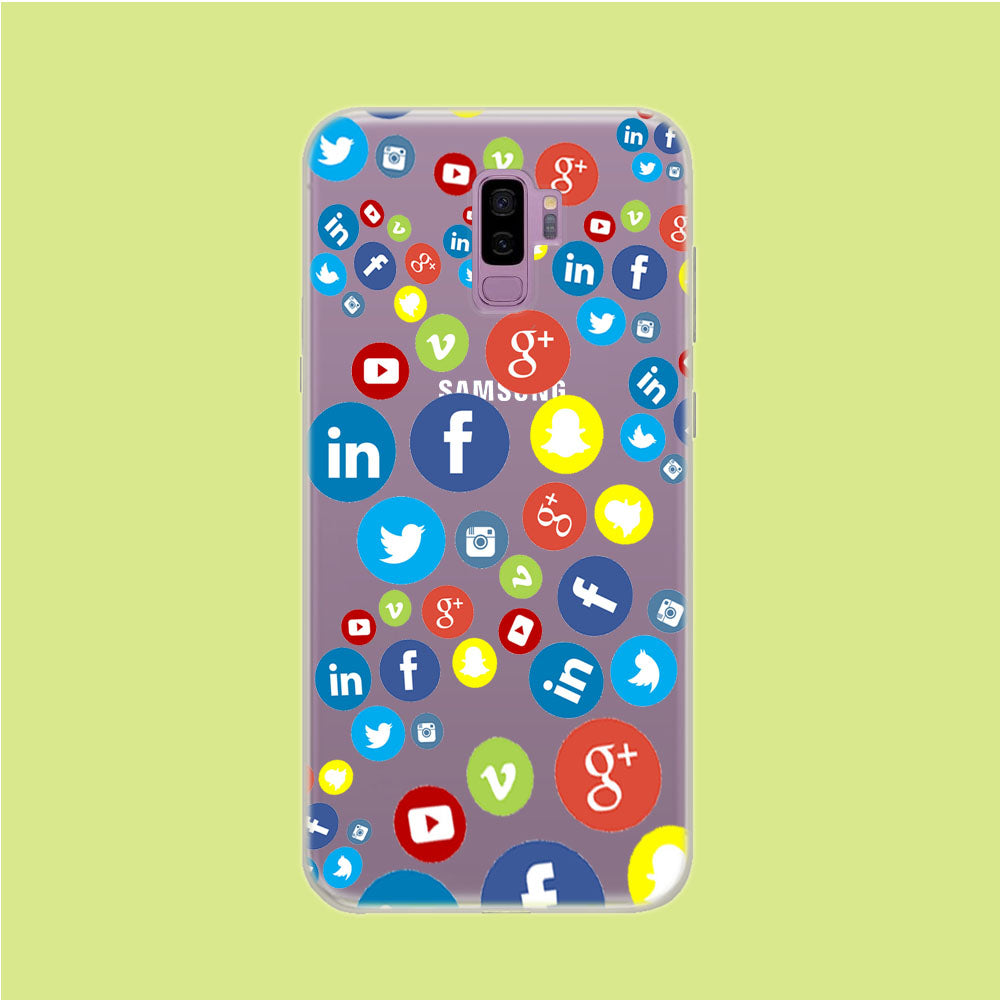 Social Media Doodle Samsung Galaxy S9 Plus Clear Case