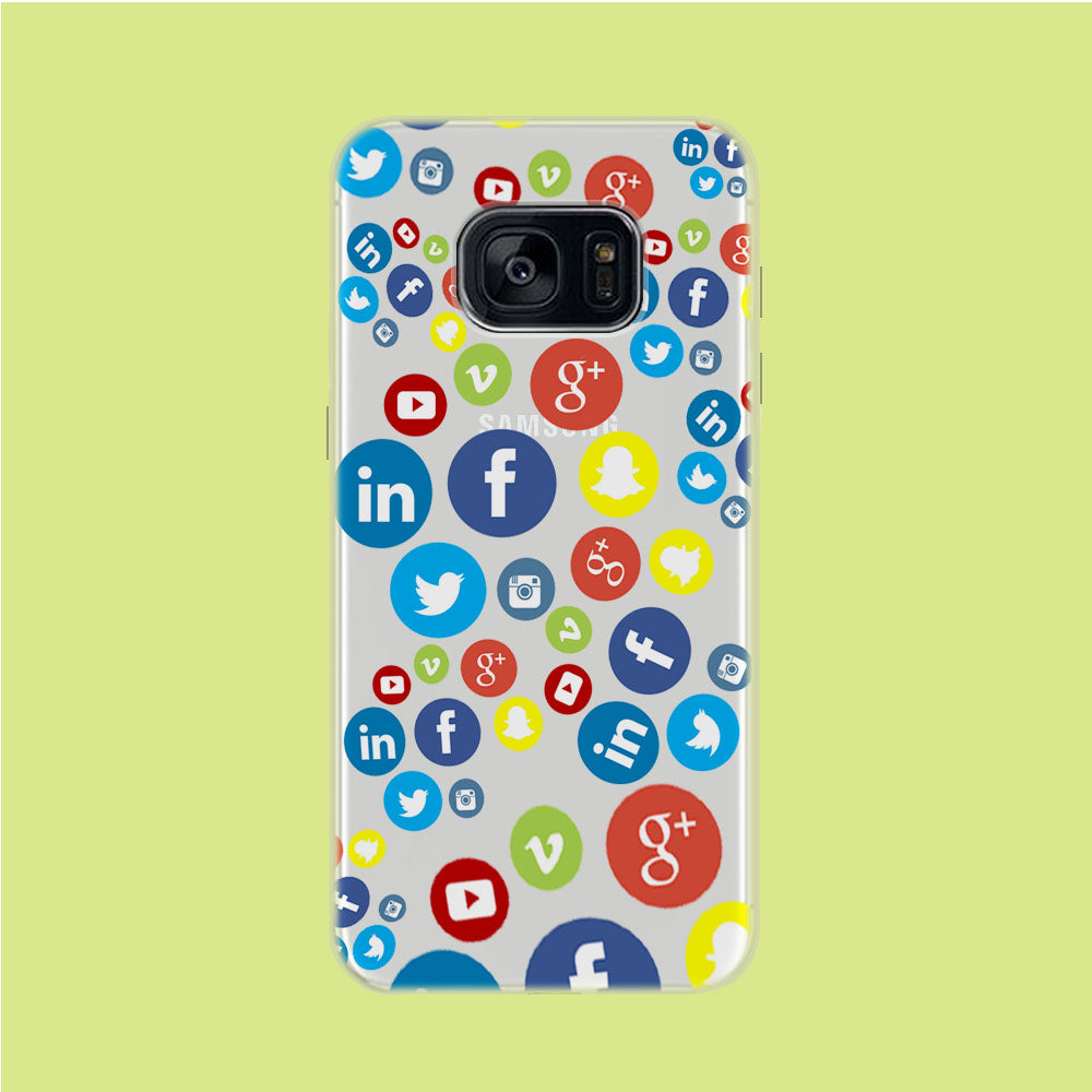 Social Media Doodle Samsung Galaxy S7 Clear Case