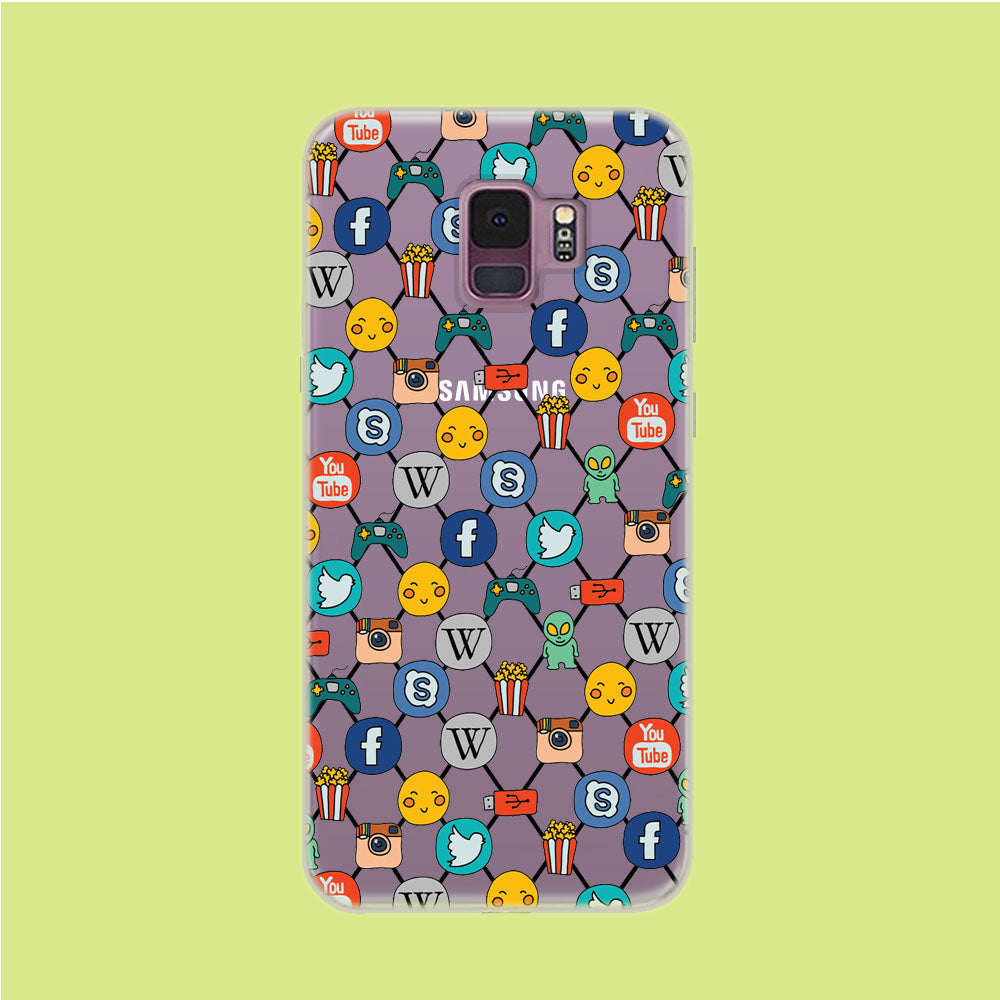 Social Media Net Wallpaper Samsung Galaxy S9 Clear Case