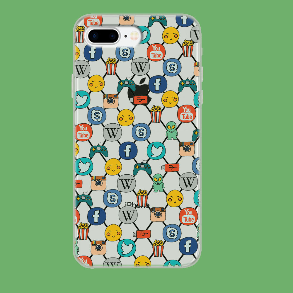 Social Media Net Wallpaper iPhone 8 Plus Clear Case