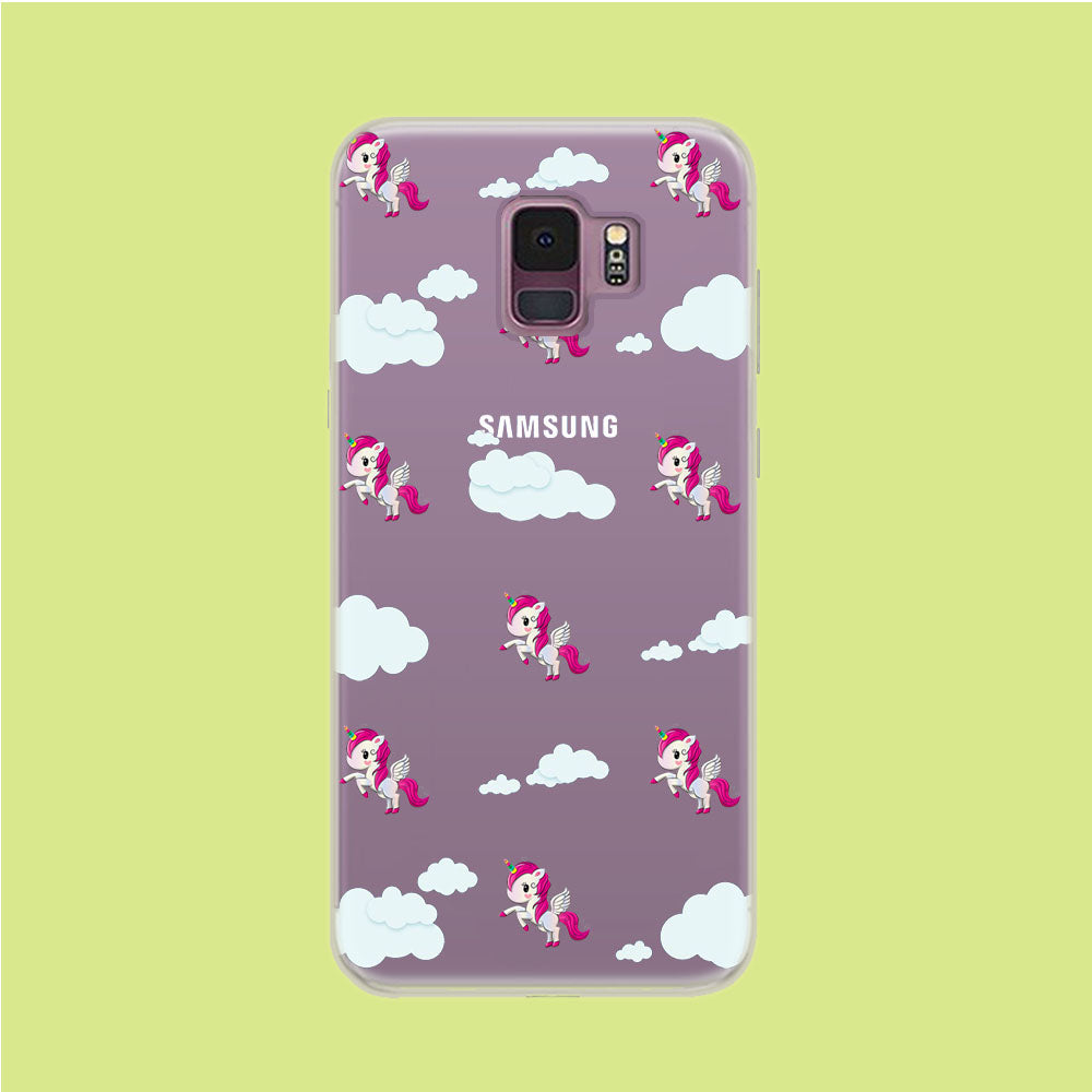 Unicorn Cloud Doodle Cute Samsung Galaxy S9 Clear Case