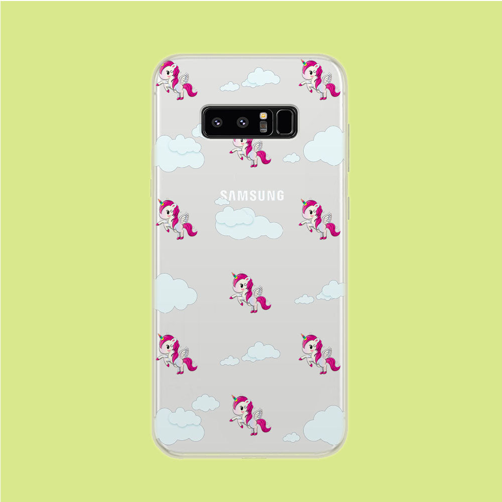 Unicorn Cloud Doodle Cute Samsung Galaxy Note 8 Clear Case