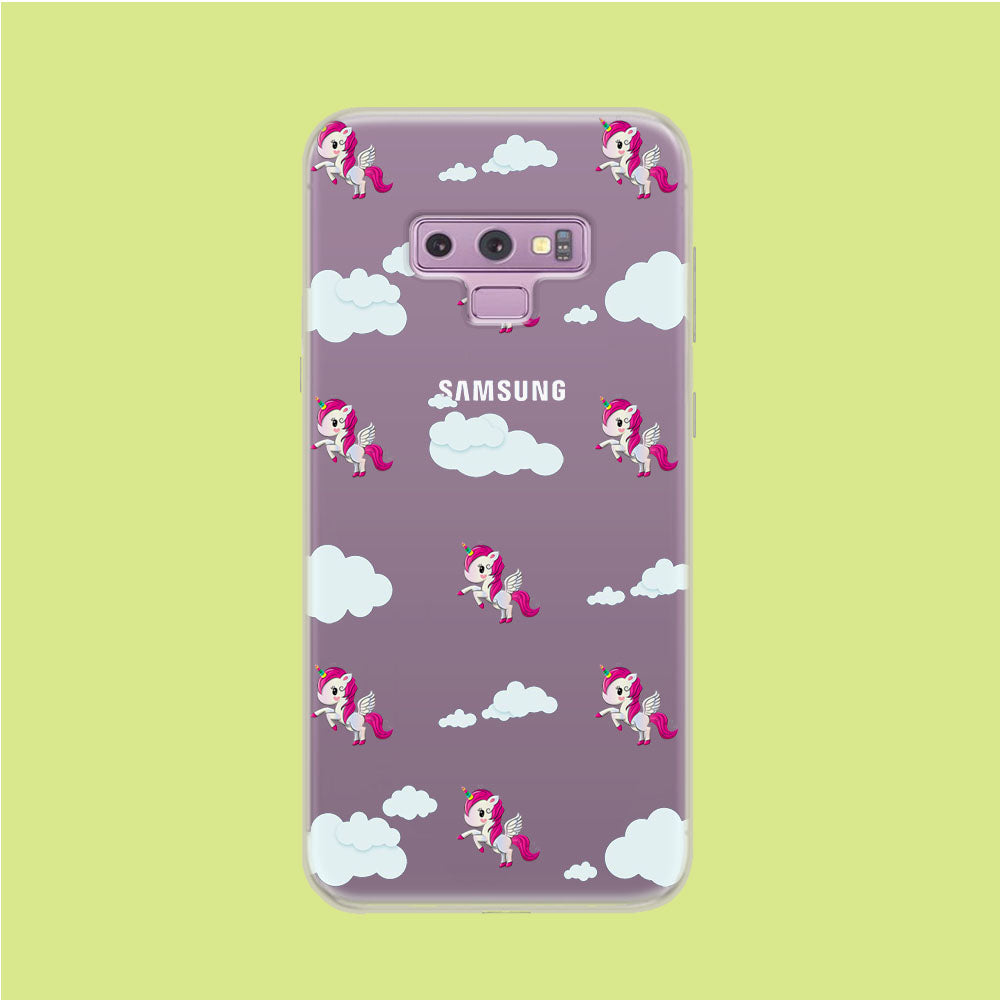 Unicorn Cloud Doodle Cute Samsung Galaxy Note 9 Clear Case