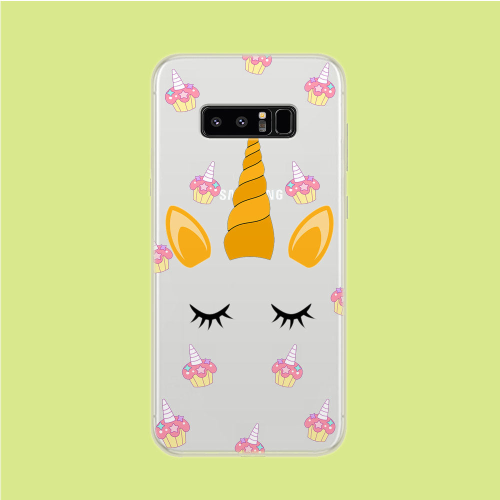 Unicorn Face Cake Samsung Galaxy Note 8 Clear Case