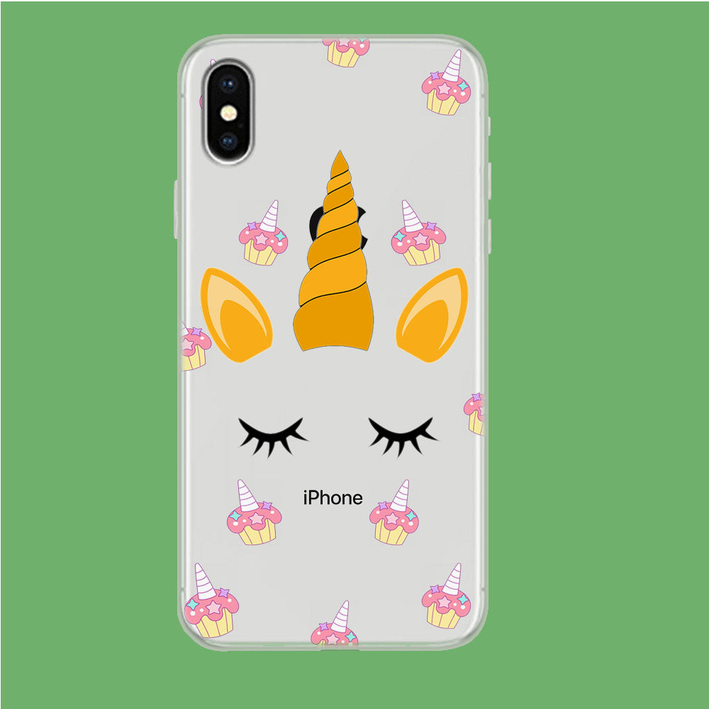 Unicorn Face Cake iPhone Xs Clear Case