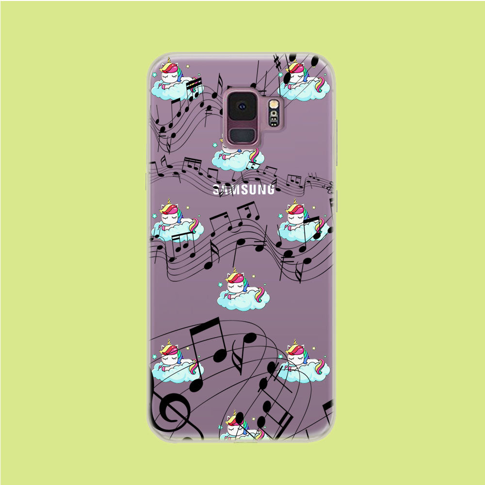 Unicorn Sleeping With Music Samsung Galaxy S9 Clear Case