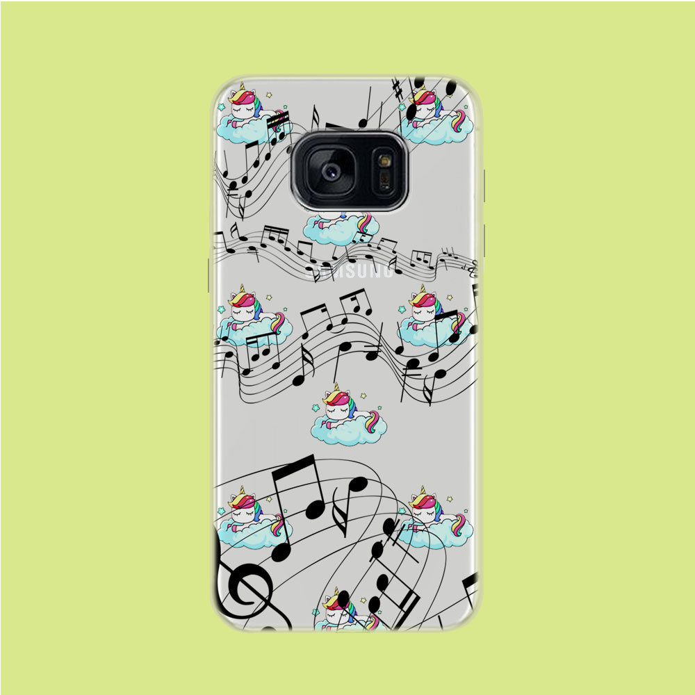 Unicorn Sleeping With Music Samsung Galaxy S7 Edge Clear Case