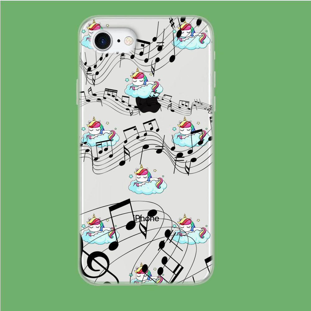 Unicorn Sleeping With Music iPhone 8 Clear Case