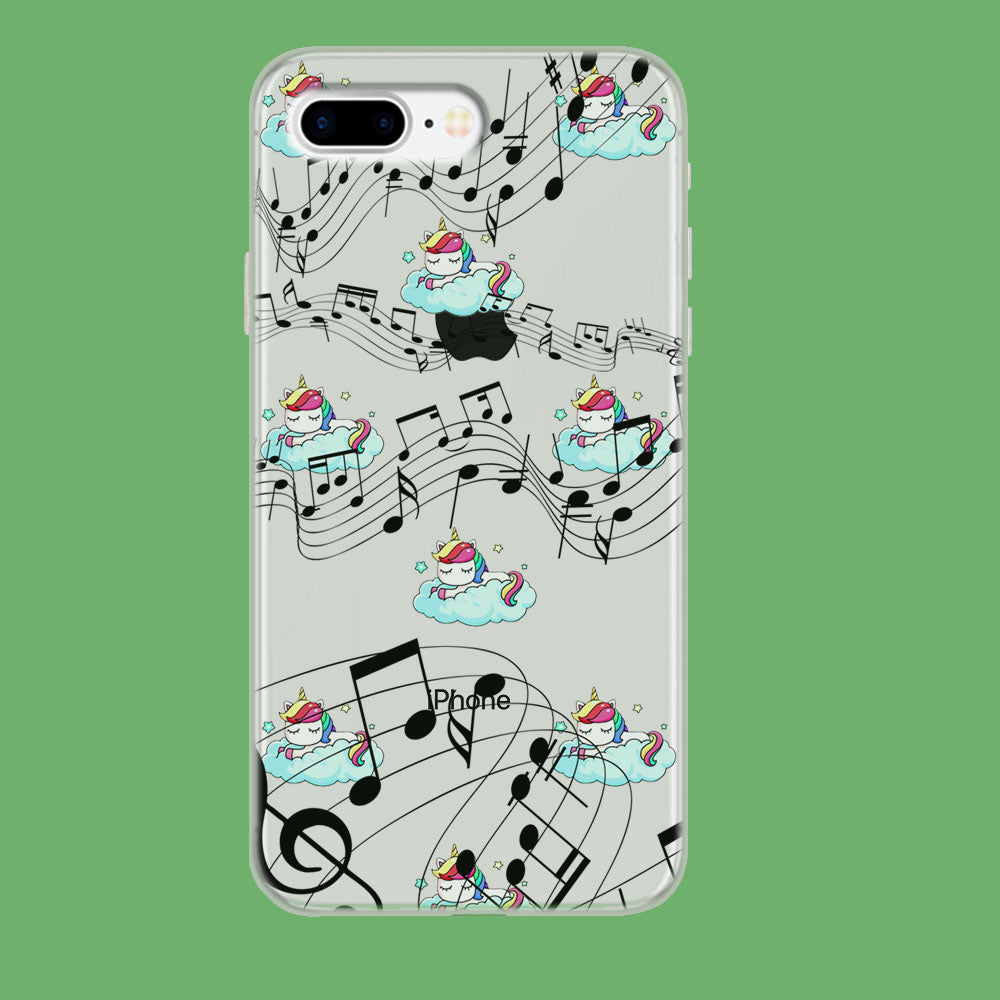 Unicorn Sleeping With Music iPhone 8 Plus Clear Case