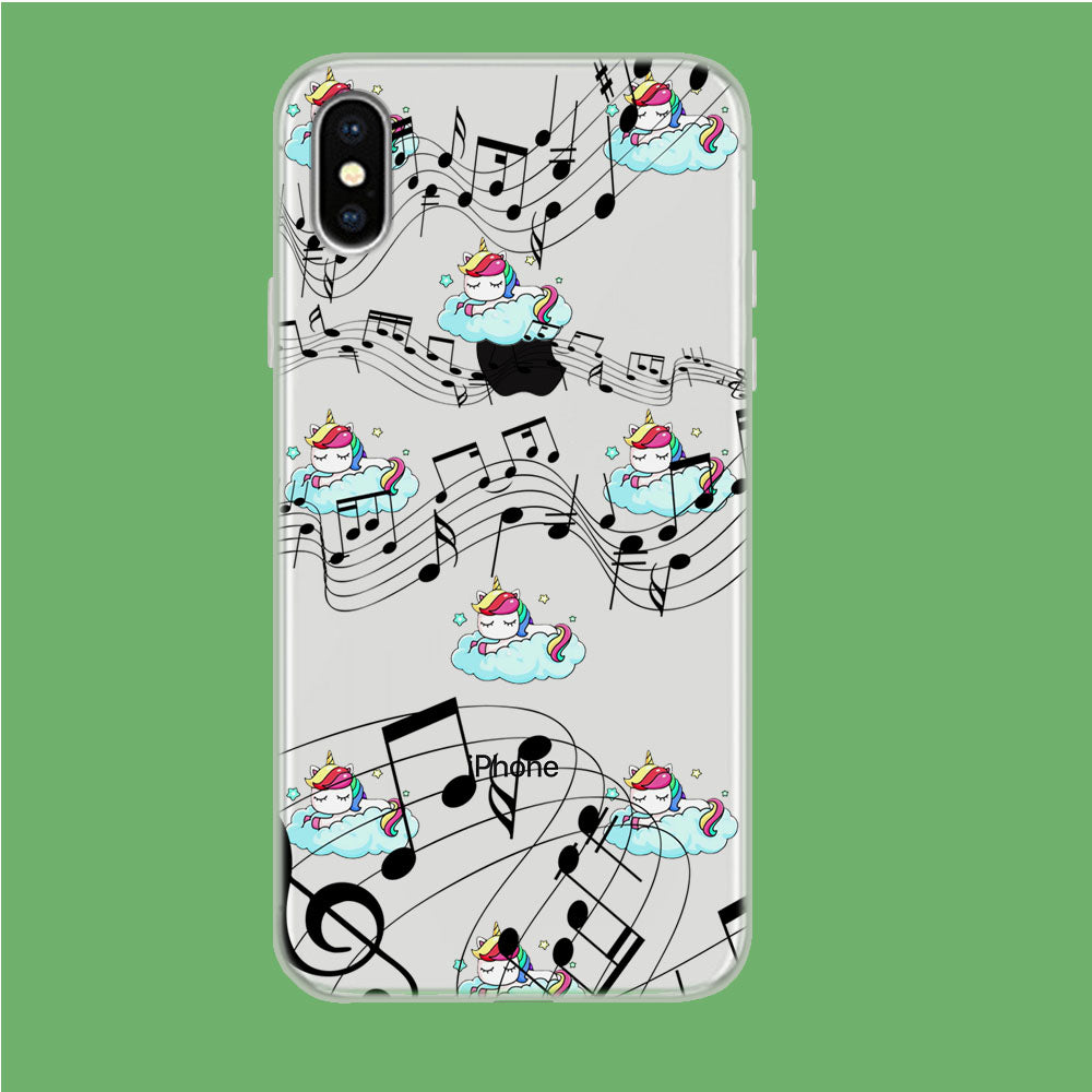 Unicorn Sleeping With Music iPhone Xs Clear Case