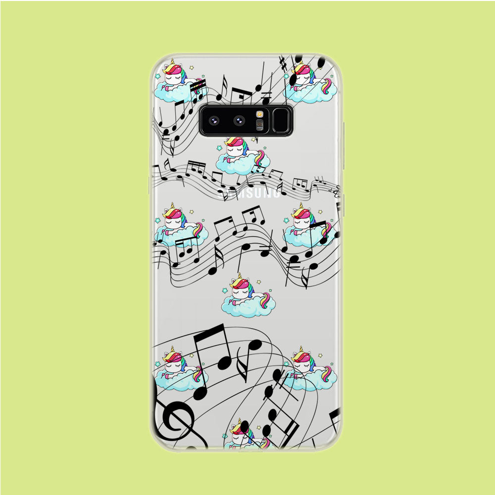 Unicorn Sleeping With Music Samsung Galaxy Note 8 Clear Case