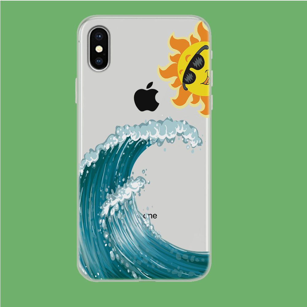 Wave Ocean Hide Sun iPhone X Clear Case