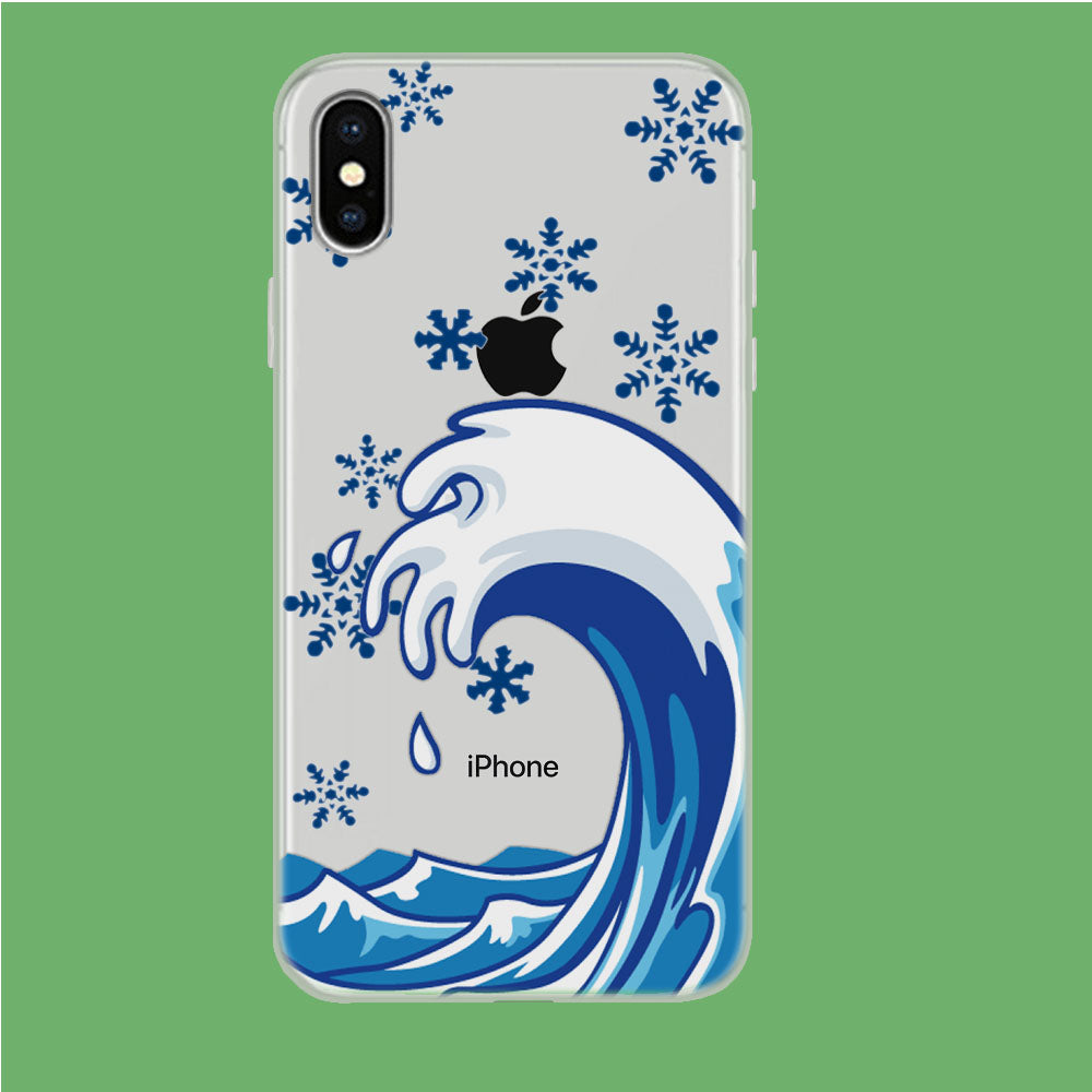 Wave Ocean Snowflake iPhone X Clear Case