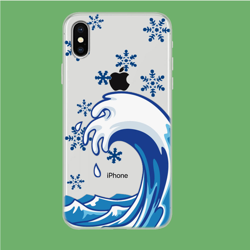 Wave Ocean Snowflake iPhone Xs Clear Case