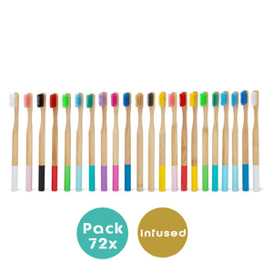 Pack 72x Coloured Bamboo Brushes +4 FREE BAMBOO STRAWS