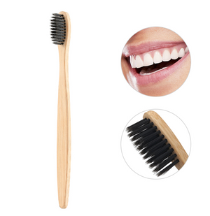Pack 6x Bamboo Brushes With Hair Infused With Activated Charcoal +1 FREE BAMBOO STRAW