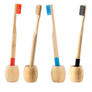 4x Bamboo Toothbrush with Holder