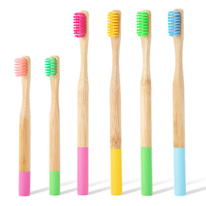6x Family Pack Coloured Bamboo Toothbrush