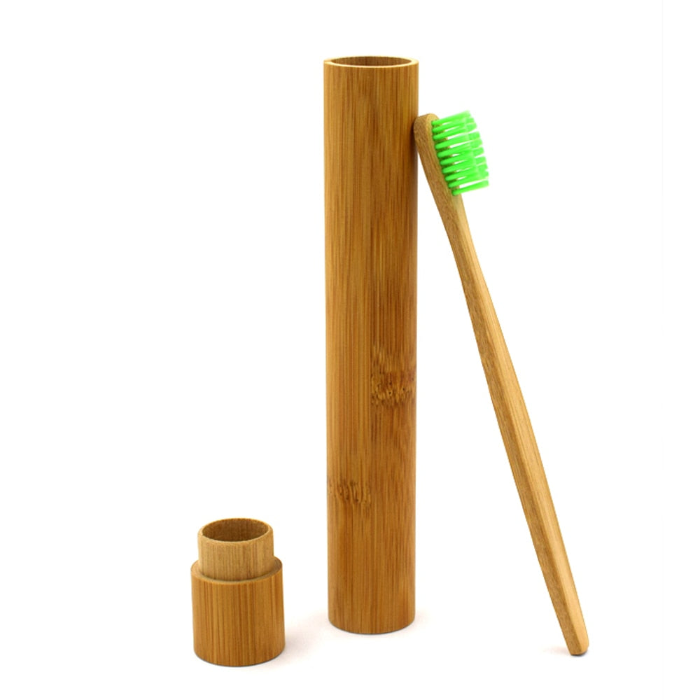 Green Bamboo Toothbrush with Case