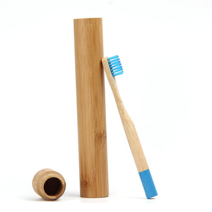 Blue Bamboo Toothbrush for Children With Bamboo Case