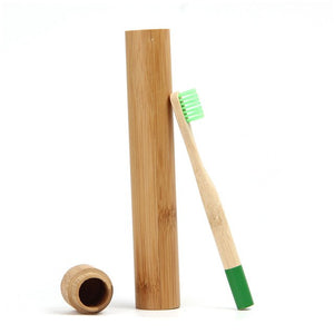 Green Bamboo Toothbrush for Children With Bamboo Case
