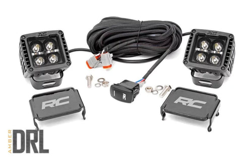 RC 2-INCH SQUARE CREE LED LIGHTS - (PAIR | BLACK SERIES W/ AMBER DRL)
