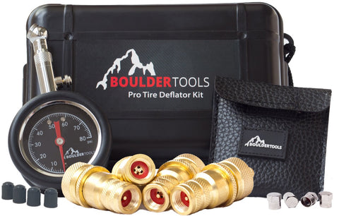 Boulder Tools Tire Deflators and 80 PSI Tire Pressure Gauge