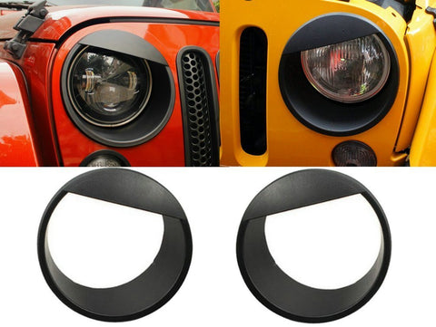 Hooke Road Black Angry Bird Headlight Cover Clip-in Bezels for 2007-2015 Jeep Wrangler