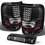 Ford F-150 Pickup Truck Black LED Tail Lights Replacement + Smoked Rear 3rd Smoked